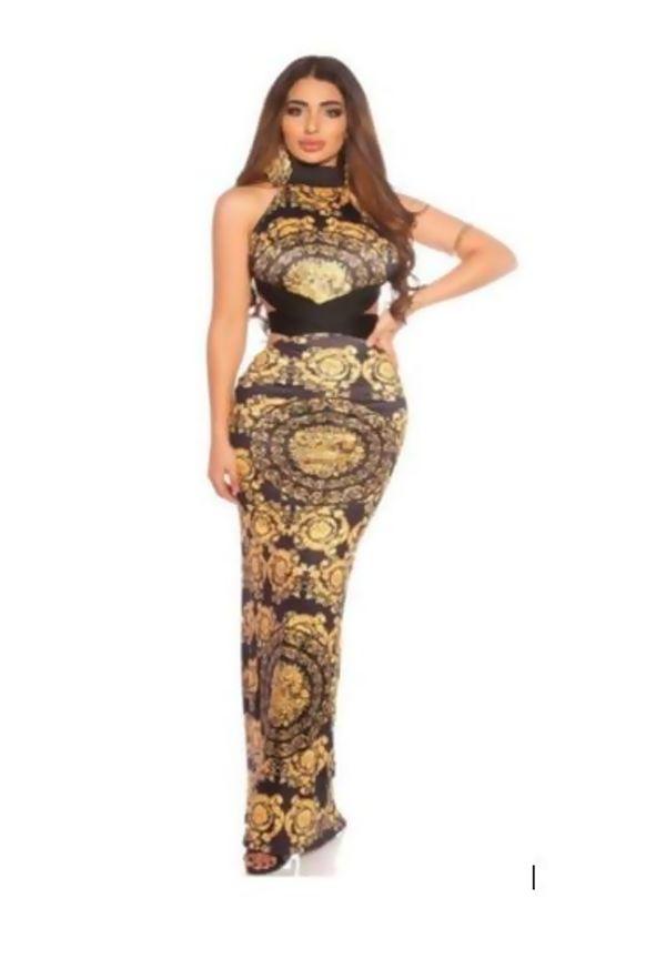 Black Baroque Backless Maxi Dress