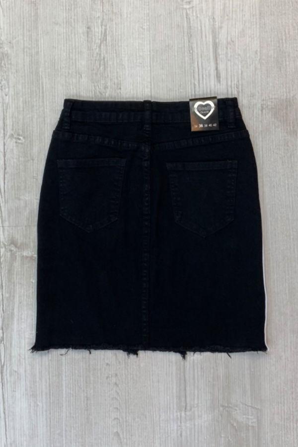 Black With White Stripes Frayed Hem Skirt
