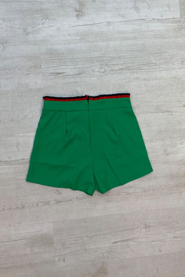 Green With Striped Waistband And Bow Shorts
