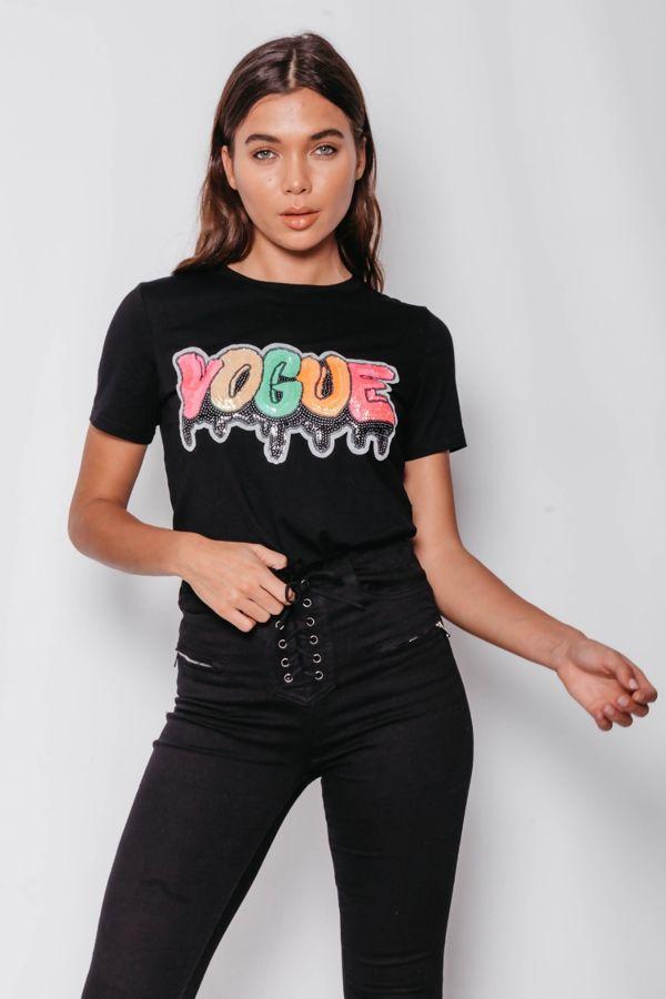 Black Sequin Multi Colour Vogue Top