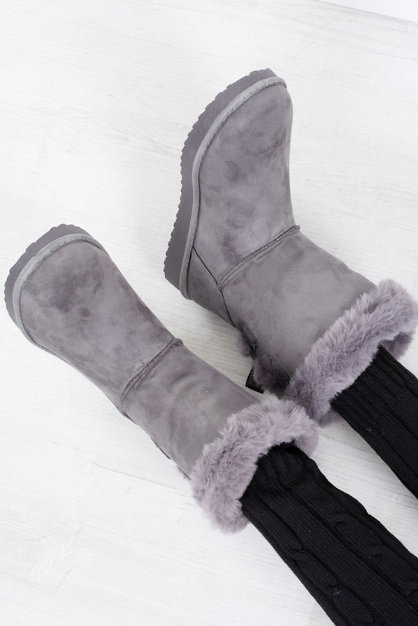 Grey Bow Detail Suede Shearling Ankle Boots