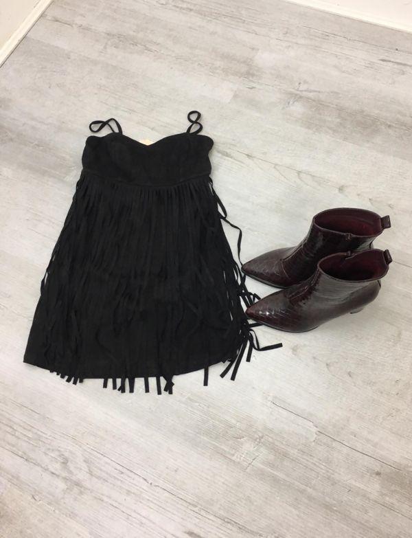 Black Suede Fringe Cami Dress
