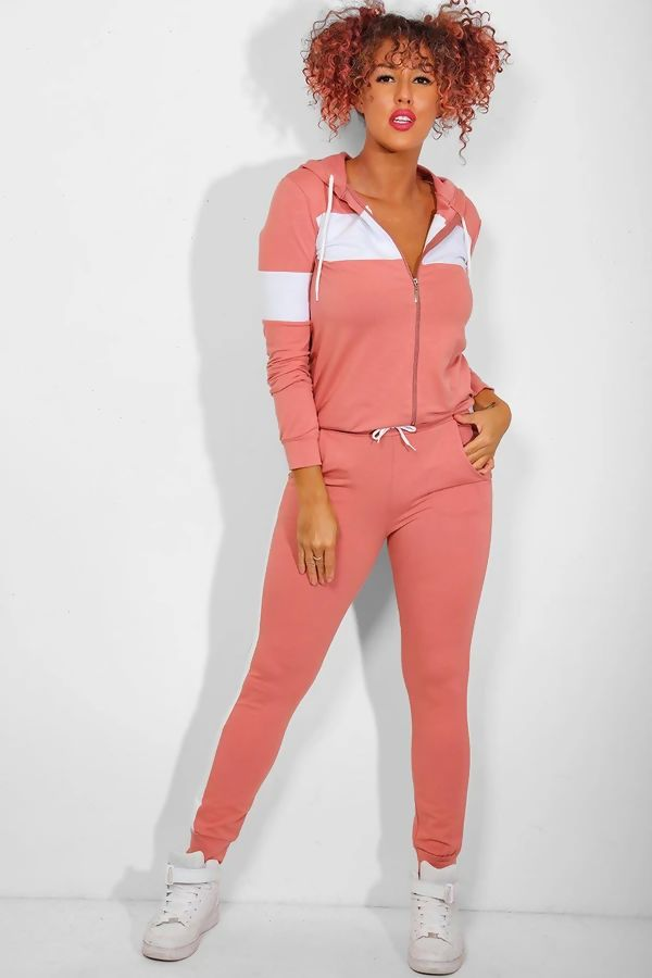 Pink With White Front Panel Hooded Lounge Set