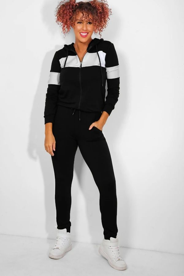 Black With White Front Panel Hooded Lounge Set