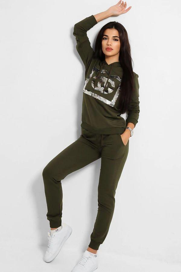 Khaki Sequin CG Hooded Loungewear Set