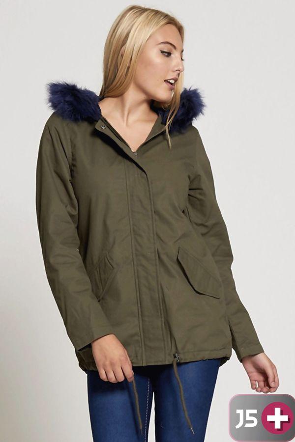 Plus Size Navy Fur Hood Brave Soul Parka Jacket