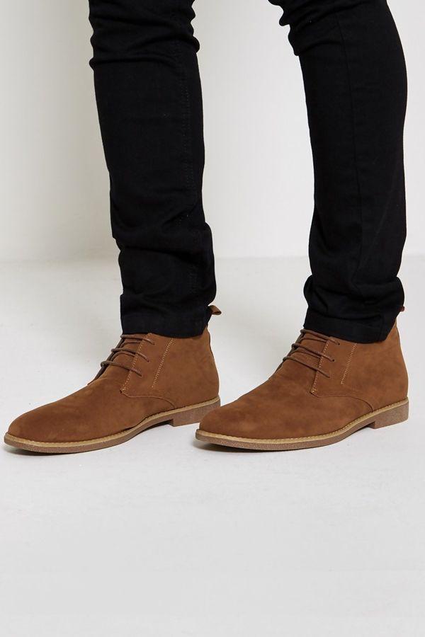 Camel Faux Suede Chelsea Boots