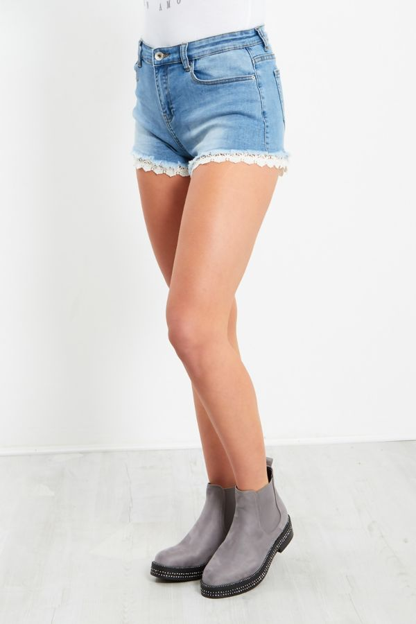 Denim Crochet Hem Shorts