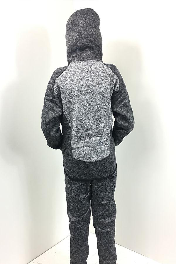 Kids Black Monochrome Panel Hood Tracksuit