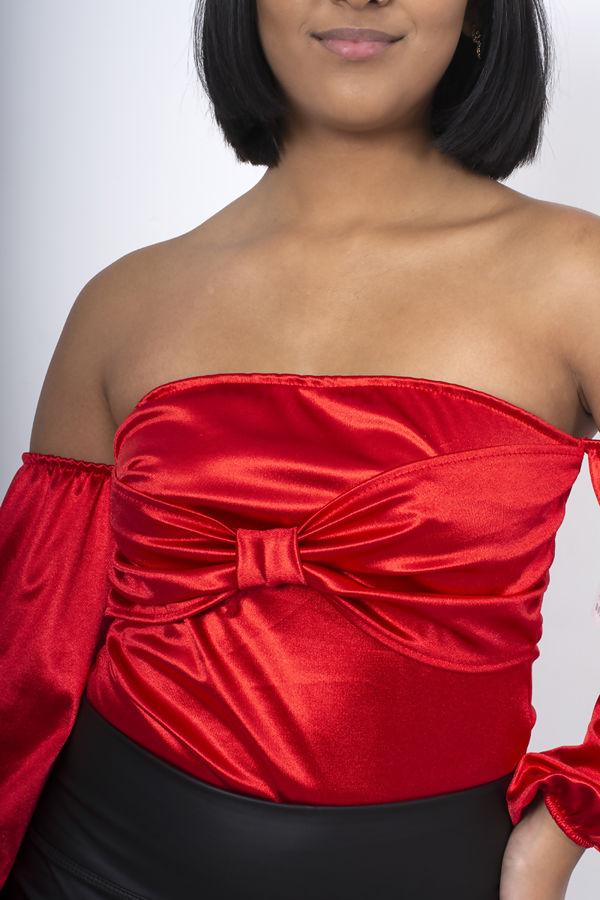 Off Shoulder Bow Front Premium Bodysuit
