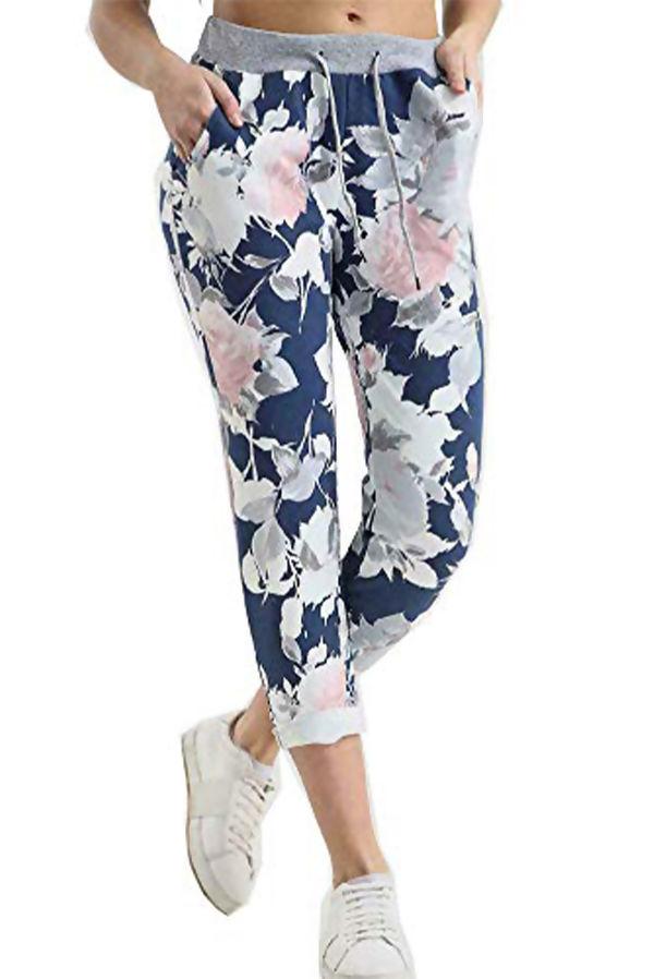 Light Denim Floral Printed Turn Up Hoop Trouser