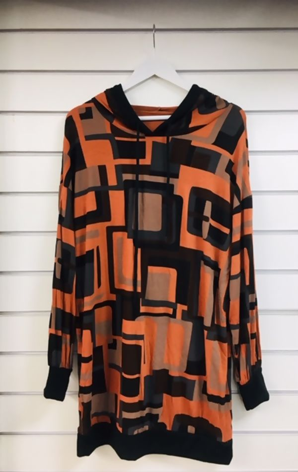 Brown Square Print Hooded Jumper Dress