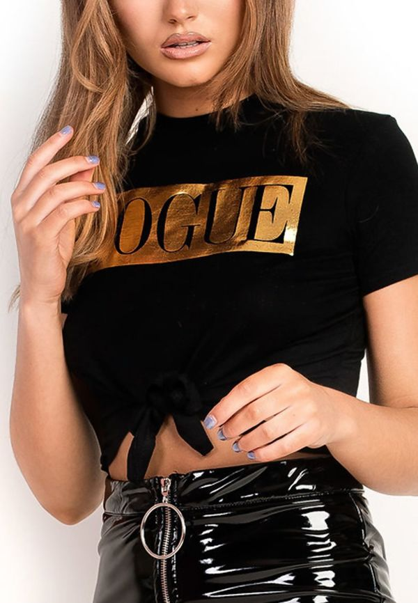 Plus Size Royal Vogue Tie Crop T-Shirt