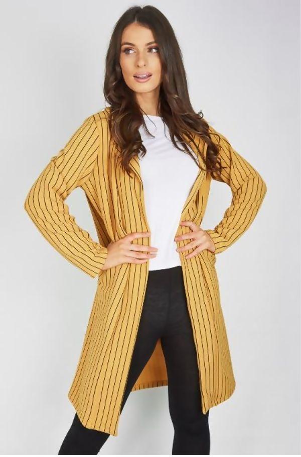 Charcoal Striped Blazer Cardigan