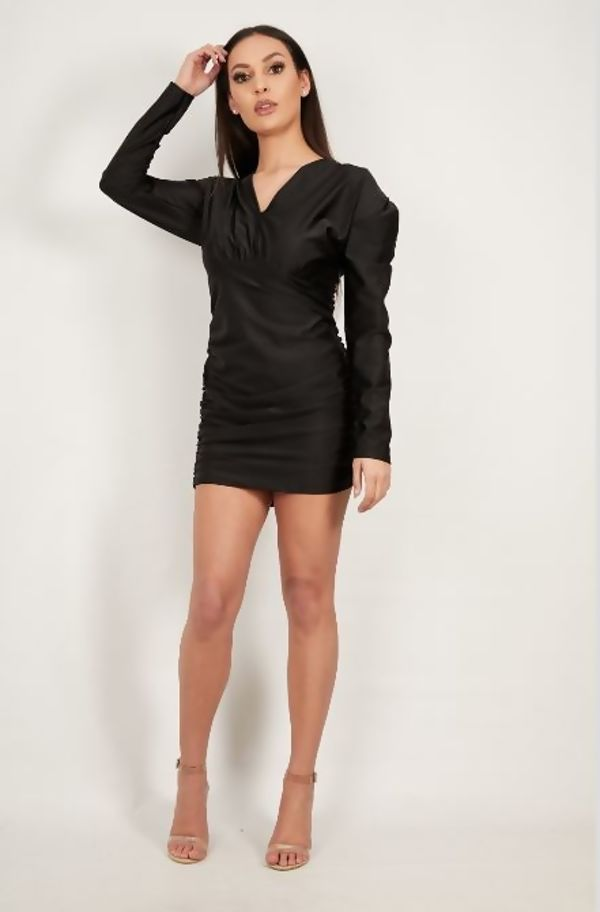 Black Puff Sleeve Ruched Side Detail Dress