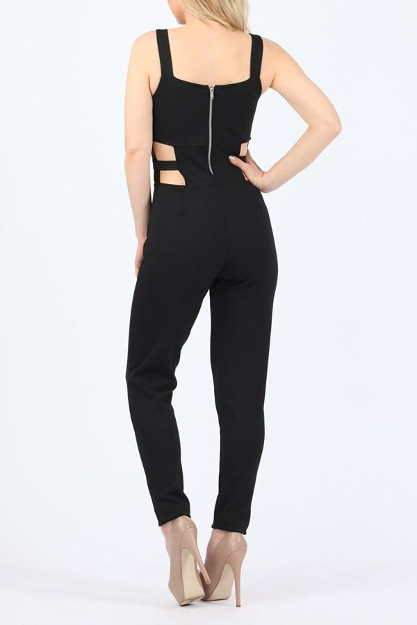 Black Figure Flattering Cut Out Jumpsuit