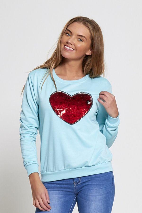 Sequin Love Heart White T-Jumper