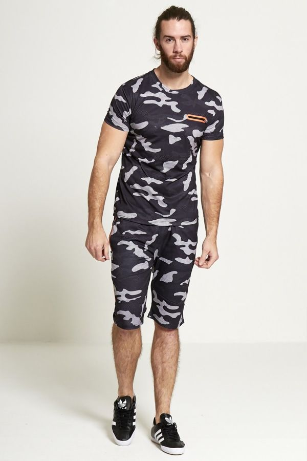 Black Camo Shorts And T-shirt Set