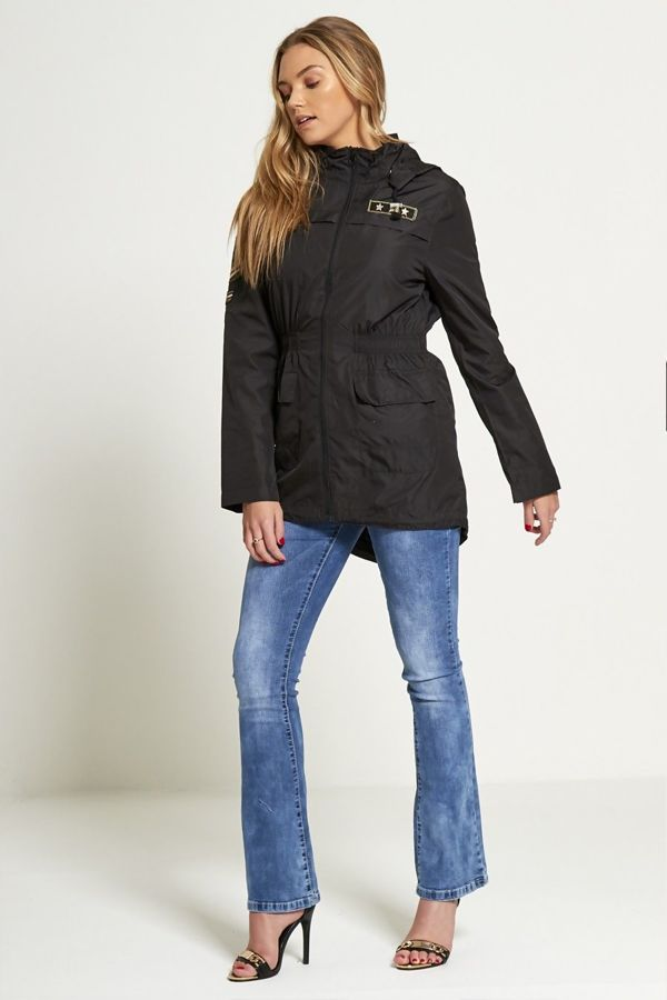 Plus Size Black Military Patch Light Weight Jacket