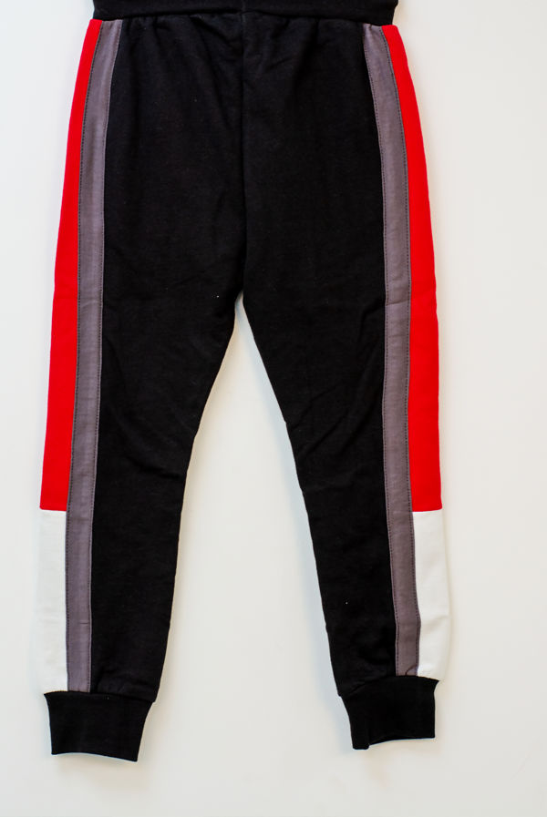 Kids Black With Red And Mocha Stripe Trouser