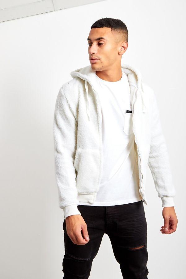 Cream Borg Teddy Hood Jacket