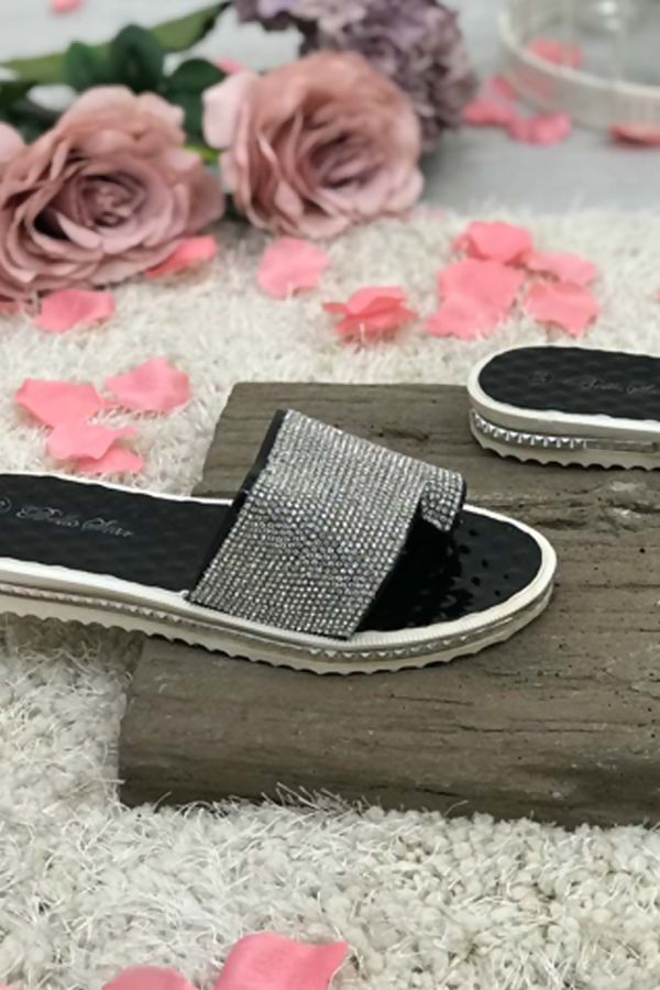 Black Bubble Soul Diamante Sliders