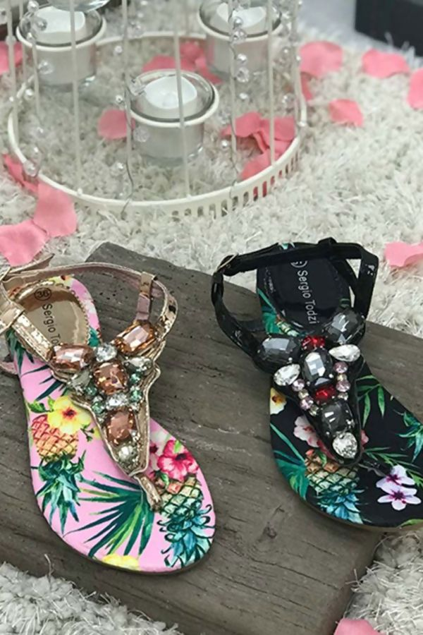 Pink Floral Diamante Bling Sandals