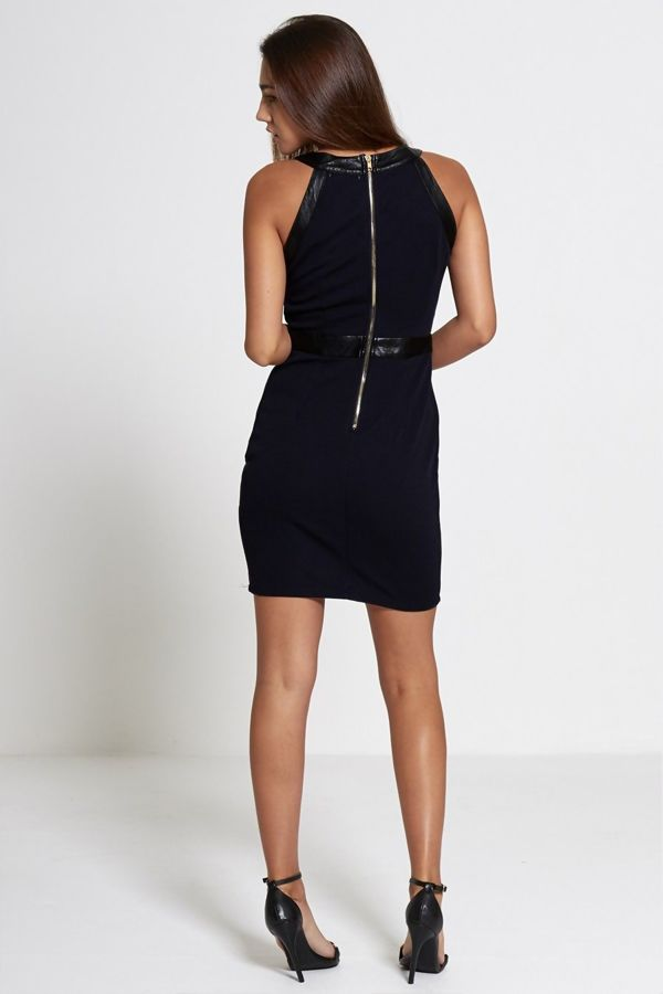 Black Faux Leather Trim Textured Party Dress