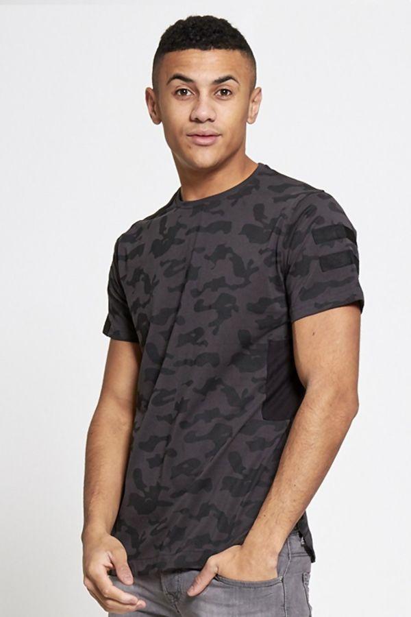 Grey Camo Zip Through T-shirt
