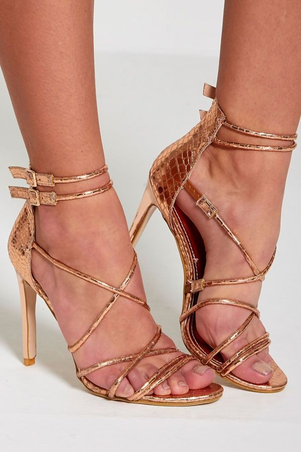 Rose Gold Snake Skin Barely There Heels