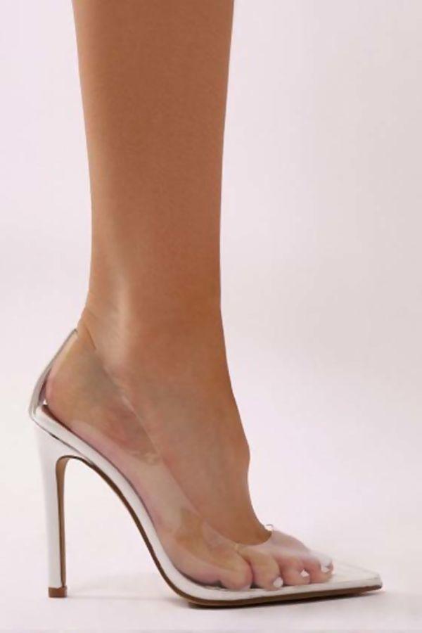 White Perspex Stiletto High Heels