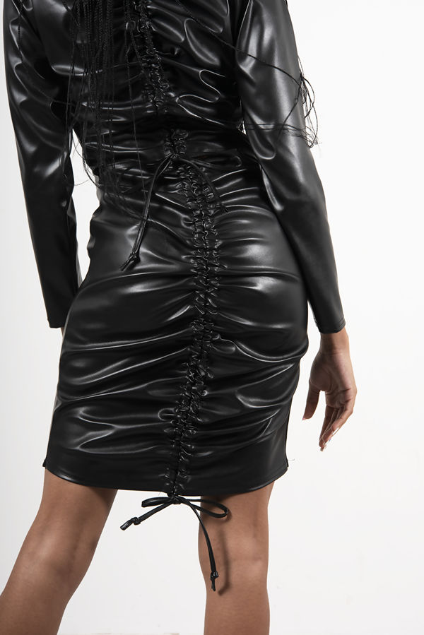 Black Faux Leather Ruched Cut Out Bodycon Dress
