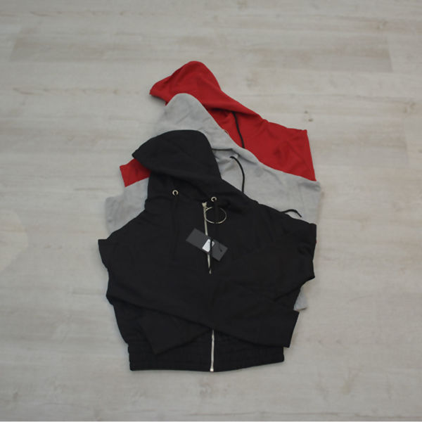 Black Zip Front O-Ring Cropped Jacket