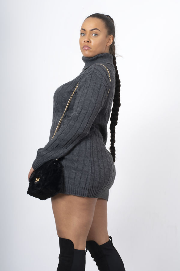Charcoal Cable Knit Roll Neck Jumper Dress