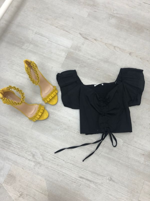 Ruched Front Shirred Back Frill Sleeve Crop Top
