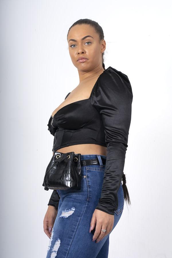 Black Puff Sleeve Zip Up Corset Top