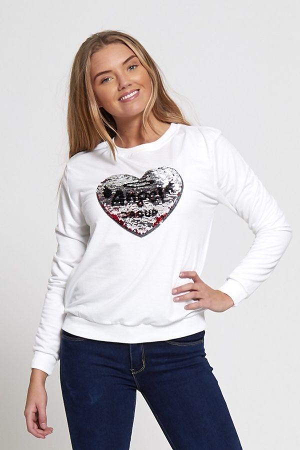 Sequin Love Heart Mint T-Jumper