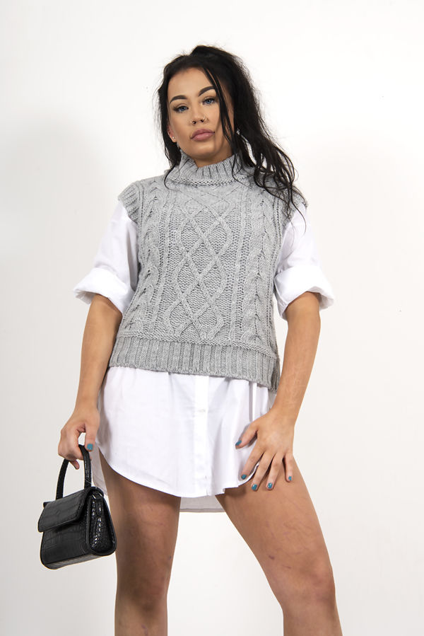 High Neck Cable Knitted Vest
