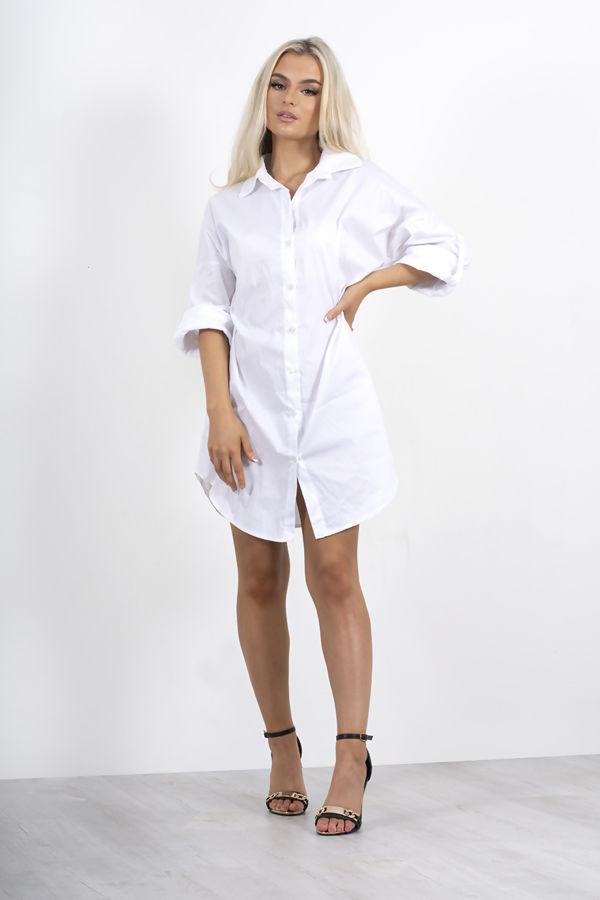 White Rolled Tab Sleeve Shirt Dress