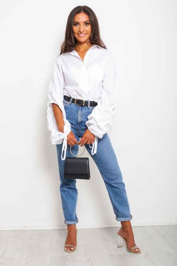 White Open Back Ruched Shirt