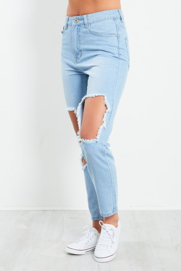 Light Blue Extreme Ripped Denim Jeans