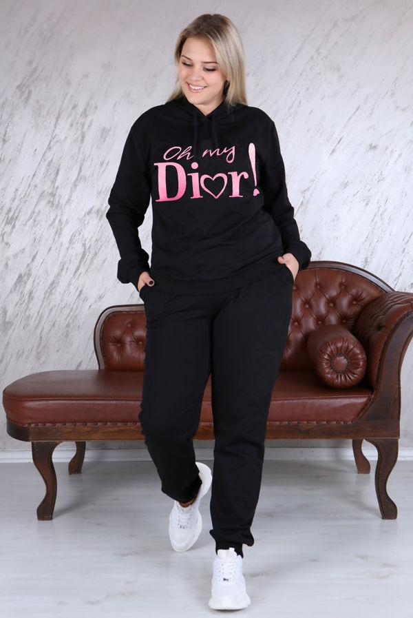 Plus Size Black Oh My Dior Logo Loungewear Set