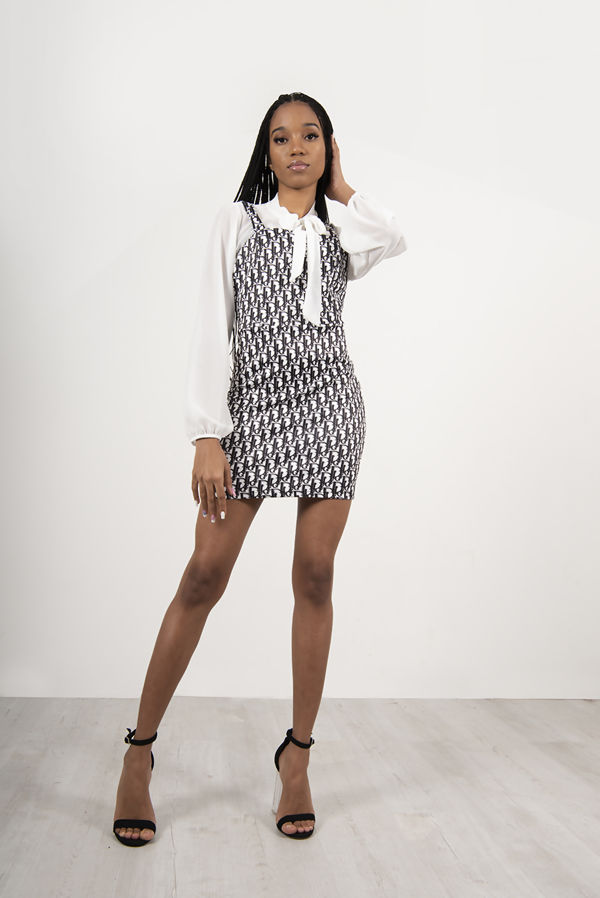 White Printed Pinafore Blouse Mini Dress