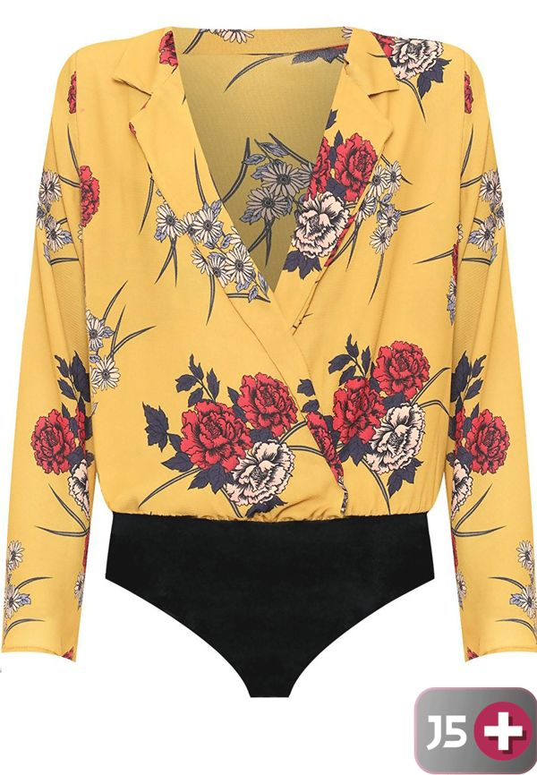 Plus Size Yellow Wrapover Floral Print Bodysuit