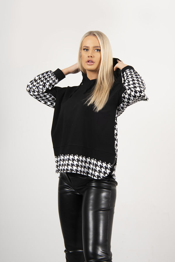 Black And White Houndstooth Hoodie
