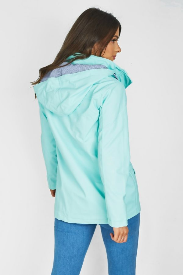 Mint Rubberised Rain Mac With Toggles