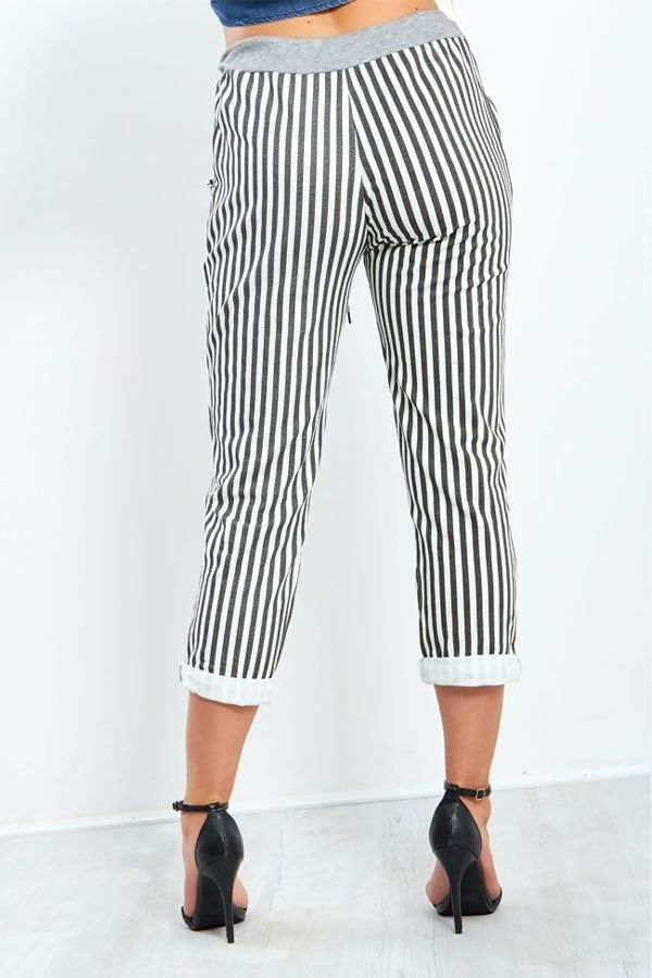 Black Stripe Turn Up Hoop Trouser
