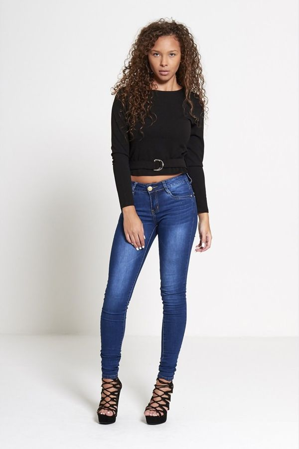 Black Belted Long Sleeve Crop Top