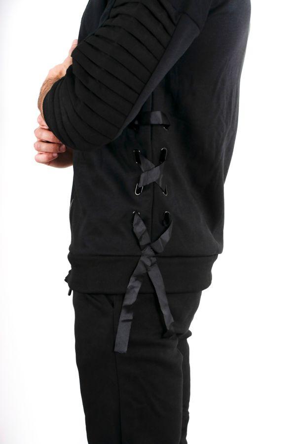 Black 3/4 Ribbed Sleeve Skinny Tracksuit