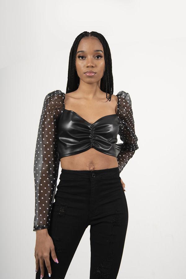 Black Sheer Polka Dot Sleeve PU Bodice Crop Top